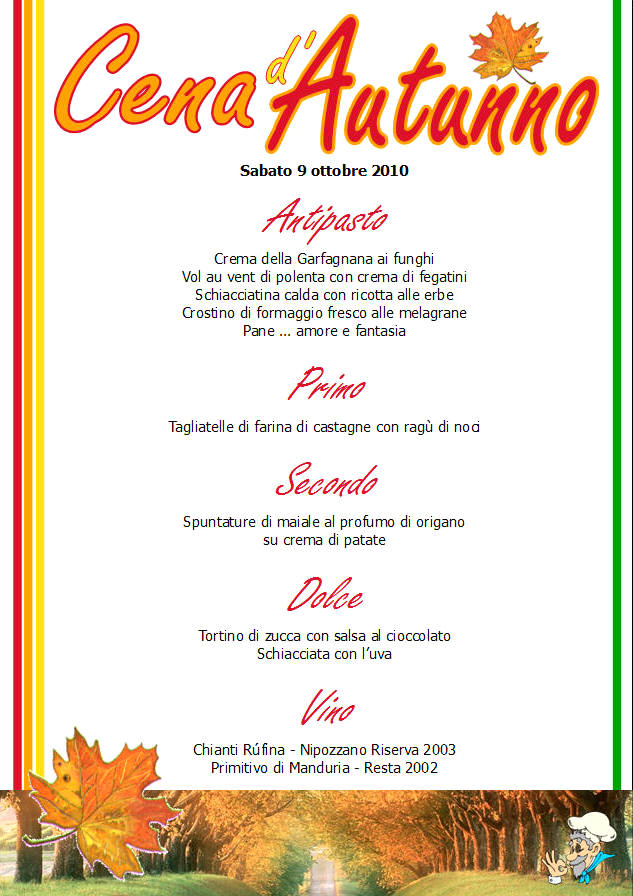Cena d'autunno - menu