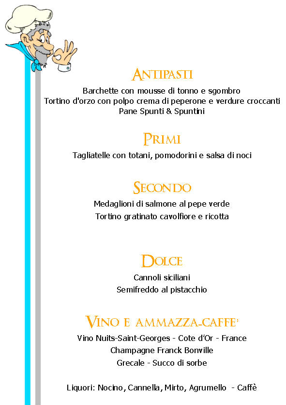 Spunti & Spuntini Day - menu